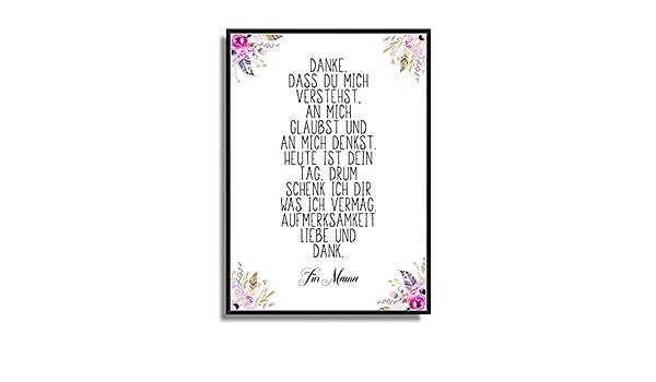 sch/öne Wand-Deko Geschenkidee Modernes Poster mit Blumen und Federn Poster Print Plakat ungerahmt Kunstdruck Bild mit Gedicht zum Muttertag auf Wunsch personalisiert