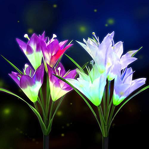 BOIROS Solar Gartenleuchten im Freien, 2er Pack Solar Flower Lights mit 8 Lilienblume, mehrfarbig wechselnde LED Lily solarbetriebene Lichter für Patio, Hofdekoration (Im Gartendeko Freien)