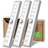 Lampe Led Detecteur Mouvement Pile Interieur, 3 Paquet Lumiere Placard Dressing Sans Fil Eclairage Reglette 10 LED Pour Escal