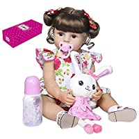 Baggra 22 inch Reborn Baby Doll Silicone Full Body Lifelike Cute Bath Dolls Baby Girl Doll Toddlers Gifts Set with Pink Floral Dress and Rabbit Toy