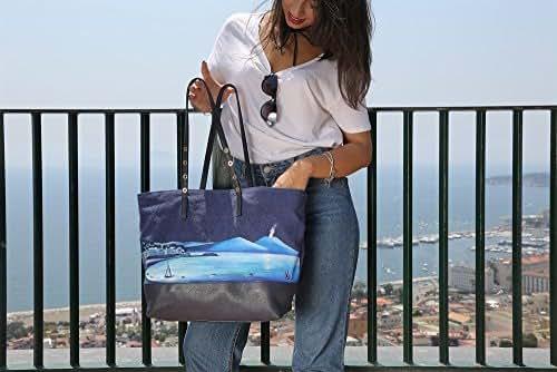 Borsa in pelle dipinta a mano - mod. Shopping Napoli