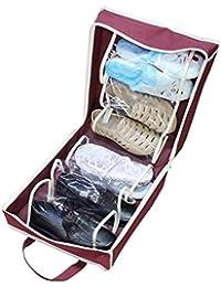gossipboy telas no tejidas zapatos de viaje portátil bolsa de almacenamiento Floding debajo de la cama cajón organizador de zapatos de bolsa bolso Tote puede Holds 6par de zapatos