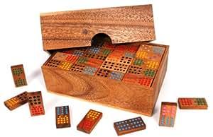 Woodstock GmbH - Domino Double 15 à partir du bois - 136 pièces [jouet] dans une boîte en bois