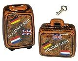 1 Stk. Sparschwein Koffer - Porzellan / Keramik mit Schlüssel - stabile Sparbüchse für die Reisekasse Spardose Reisekoffer Urlaubskasse Trolley Reisen Geld