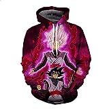 WEIYIGE 3D-Pullover Drucken L Dragon Ball Black Goku Langarm-Kapuzen-Sweatshirt -XXL
