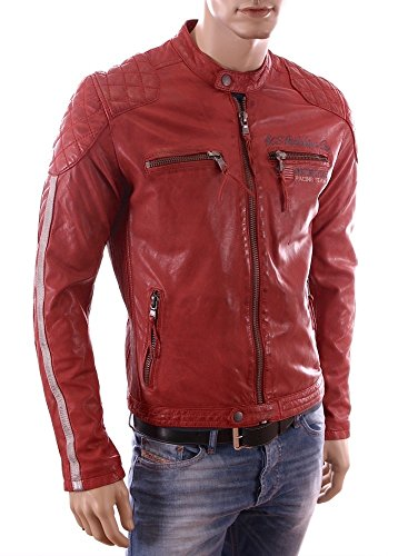 Redskins-Giacca in pelle per motociclista Slim fit Casey Calista estate 2015, colore: rosso rosso Small