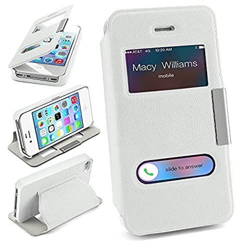 Pochette OneFlow pour iPhone 4 / 4S housse Cover à fenêtre   Flip Case étui housse téléphone portable à rabat   Pochette téléphone portable housse de protection accessoires téléphone portable protection bumper en SHINY-WHITE