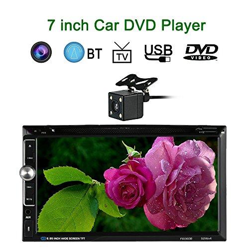 KKmoon Universal 7 Zoll 2 Din HD Car Stereo-DVD-Player Radio Entertainment Multimedia mit HD-Rückfahrkamera Unterstüzt - Verstärker Objektiv