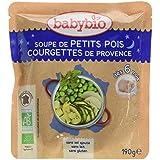 Babybio Sachet Soupe de Petits Pois/Courgettes de Provence 190 g - Lot de 6