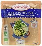 Babybio Soupe de Petits Pois/Courgettes de Provence 6+ Mois 190 g - Lot de 6