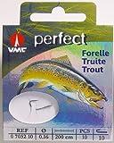 VMC Perfect Forelle gebundene Sbirolinohaken 200cm Vorfach, Hakengröße:6