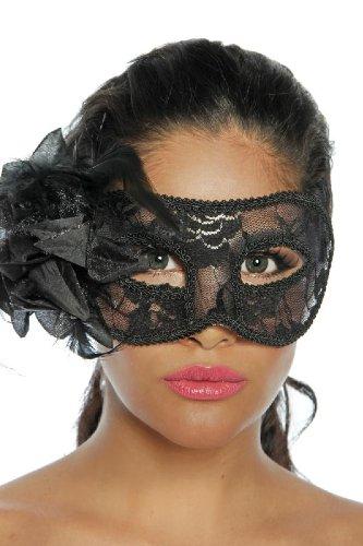 Maskenball Feder Maske (Edle Maske mit Spitze & Federn schwarz Mottopary Clubbesuch Karneval, Größe:Einheitsgröße)