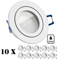 10er IP44 LED Einbaustrahler Set Weiß mit LED GU10 Markenstrahler von LEDANDO - 5W - warmweiss - 120° Abstrahlwinkel - Feuchtraum / Badezimmer - 35W Ersatz - A+ - LED Spot 5 Watt - Einbauleuchte rund