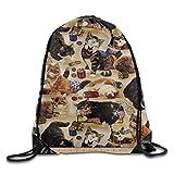 KCOUU Sac à Dos imperméable avec Cordon de Serrage pour Enfants et Adultes Taille Unique Sew Cats and Sewing Notions Tan