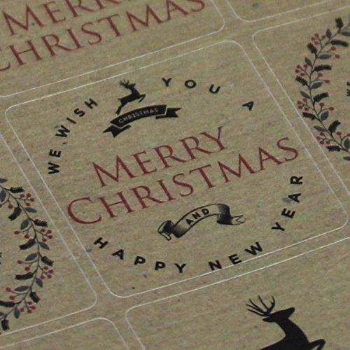 Hoja pegatinas renos navideños papel Kraft marrón