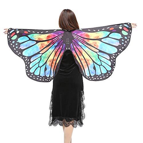 Frauen Pfau Flügel Schal Chiffon Schals Damen Schöner Erwachsene Poncho Kostüm Zubehör Cosplay Accessoires Umhang Tuch Schmetterlingsflügel SSUDADY