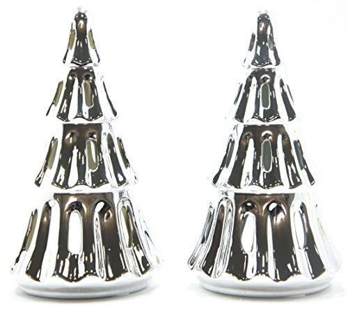 2x seltene Offizielles Yankee Candle Keramik Silber Weihnachtsbaum Teelichthalter Dekoration Festive Season Zubehör-Kerzen Nicht im Lieferumfang Enthalten