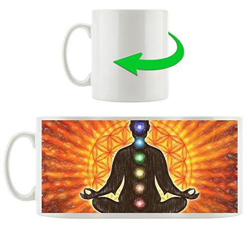 Meditation mit den 7 Chakren Kunst Buntstift Effekt, Motivtasse aus weißem Keramik 300ml, Tolle Geschenkidee zu jedem Anlass. Ihr neuer Lieblingsbecher für Kaffe, Tee und Heißgetränke