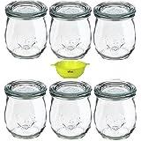 Viva Haushaltswaren - 6 kleine Weckgläser Rundrandgläser in Tulpenform 220 ml inklusive einem gelben Einfülltrichter mit Arretierung