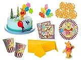 XXL Party Deko Set mit Torten Deko 1.Geburtstag Winnie Pooh Kindergeburtstag Partygeschirr Kuchen Deko für 8 Personen Mädchen Junge