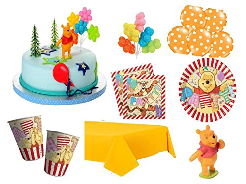 XXL Party Deko Set mit Torten Deko 1.Geburtstag Winnie Pooh Kindergeburtstag Partygeschirr Kuchen Deko für 8 Personen Mädchen Junge (Winnie The Pooh Geburtstag Party)