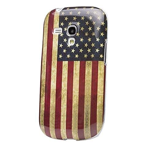 iCues Samsung Galaxy S3 MINI | Design TPU Case Blumen Eule Owl USA Vintage | [Display Schutzfolie Inklusive] Damen Frauen Mädchen Silikon Gel Motiv Muster Schutzhülle Hülle Cover Schutz