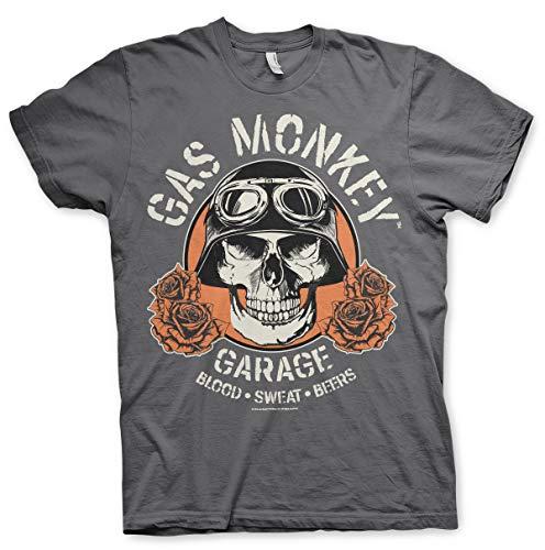 Gas Monkey Lizenziert Herren Hot Rod Skull T-Shirt (M, Dunkelgrau) -