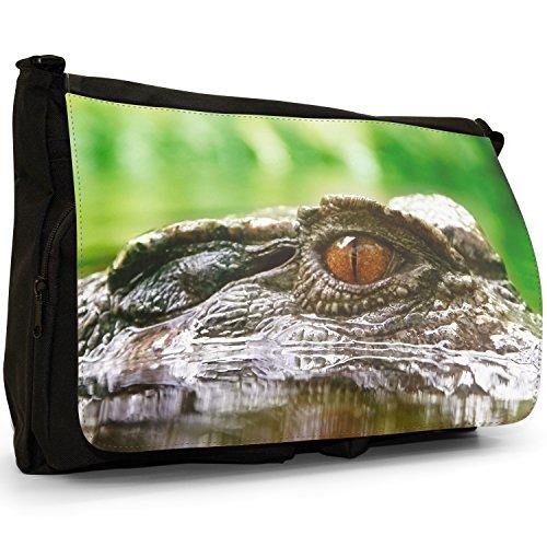 Coccodrilli e Alligatori–Borsa Tracolla Tela Nera Grande Scuola/Borsa Per Laptop Close Up Of A Crocodile Eye