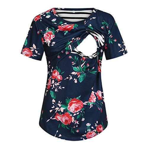 Umstandsmode Damen Bluse Sommer Kurzarmshirts für Schwangere Umstandsstripe Flower Patchwork Tops Schwangerschaftssweatshirt Umstandsmode Umstandsshirt T-Shirt