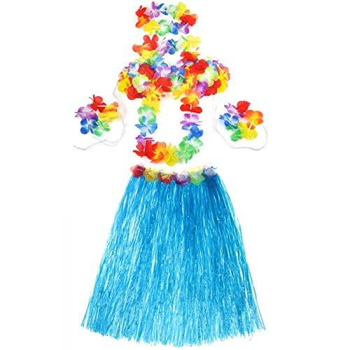 Hawaiian Luau Party Dekorationen Trachten Set mit 60CM Länge Rock Kopfbedeckung Stirnband Lei Garland Armbà ? nder BH blau (Hawaiian Kleidung Luau)