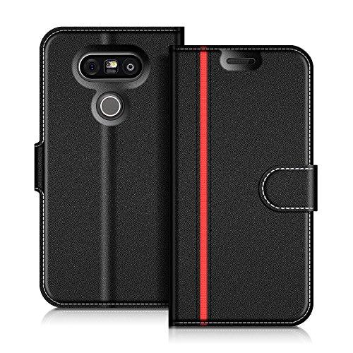 COODIO LG G5 Hülle Leder Lederhülle Ledertasche Wallet Handyhülle Tasche Schutzhülle mit Magnetverschluss/Kartenfächer für LG G5, Schwarz/Rot