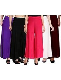 Klugger Women's Malai Lycra Combo Of 5 Palazzo (Black,Purple,Dark Pink,White,Maroon,Free Size)