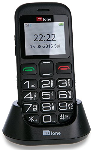 Ttfone jupiter 2 telefono cellulare con tasti grandi, nero