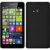 PhoneNatic Case kompatibel mit Microsoft Lumia 535 - Hülle schwarz gummiert Hard-case + 2 Schutzfolien