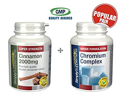 SimplySupplements Cinnamon 2000mg 120 tablets + Chromium Complex 120 tablets | For a healthy & normal blood sugar levels by Simply Supplements
