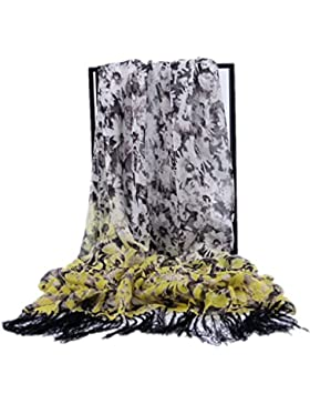 Prettystern - 200cm X 100cm XXL Extra Size estampado de flores de seda pura de la bufanda de seda larga con flecos
