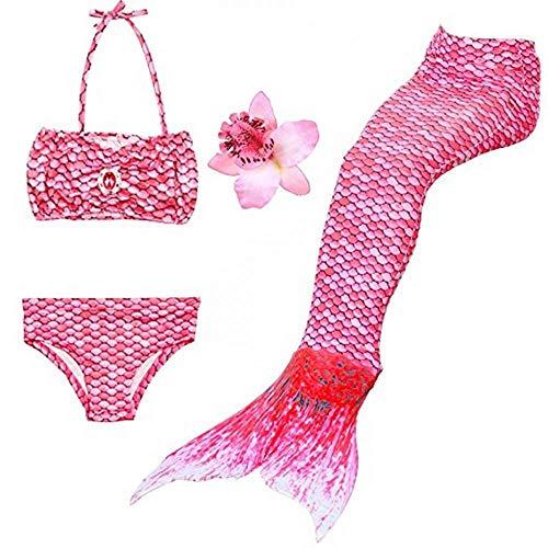 Bikini Mädchen Badeanzüge Schönere Meerjungfrauenschwanz Zum Schwimmen Badeanzug Mädchen mit Merjungfrauen Kinder Flossen Schwimmen Kostüm Schwanzflosse (Rosa-Pink,150)