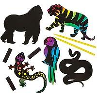 Baker Ross Kits de Imanes de Frigorífico para Rascar con Animales de la Selva que los Niños Pueden Crear, Personalizar y Exhibir Como Manualidades Scratch Art Veraniegas (Pack de 12), Multicolor