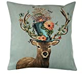 BelgianTapestries Edle Kissenhülle, Zierkissenhülle 45 X 45 cm, Stag with Hat and Butterflies Gobelin Cushion