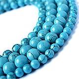 Juliewang 2fili naturale pietra rotonda sciolto perline blu turchese gemma guarigione per fare gioielli fai da te, 8 mm