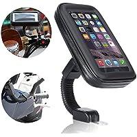 Supporto impermeabile da Moto, Ubegood Supporto e Custodia/ Supporto universale per specchietto a manubrio moto(4.7 pollici)