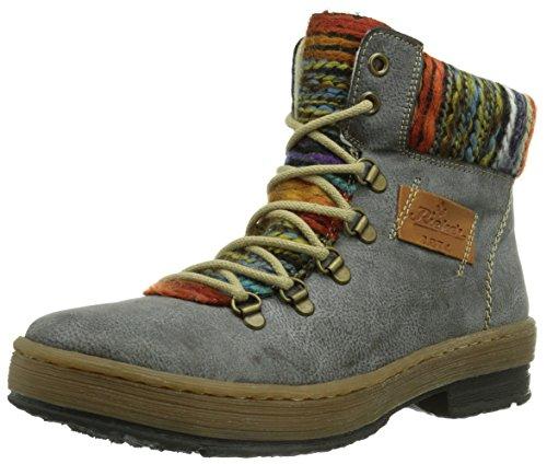 Rieker Z6743-45, Boots femme Gris (Basalt/Nuss/Orange-Multi/45)