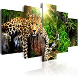 murando - Bilder 200x100 cm Vlies Leinwandbild 5 TLG Kunstdruck modern Wandbilder XXL Wanddekoration Design Wand Bild - Tier Leopard Natur g-C-0031-b-n