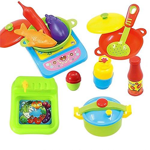 Juguete de cocina juego de comida 60 piezas utensilios de for Juego utensilios cocina