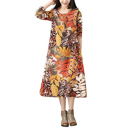 18b1dc7cb70 Hevoiok Autumn Women Dresses Casual Fashion Elegant Leaves Print Round Neck  Long Sleeve Plus Size Loose