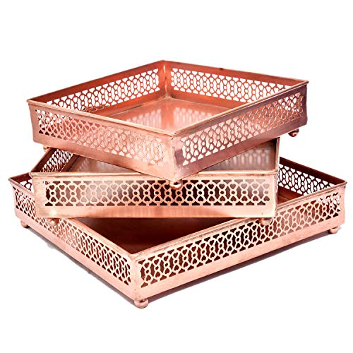 Jaipur Crafrafts Hub Lot de 3 Plateaux carrés en cuivre pour Petit déjeuner