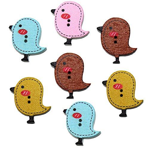 Yaxitu 50pcs Chick en forme de boutons en bois à 2 trous en bois pour l'artisanat et la couture