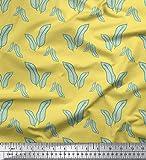 Soimoi Gelb Baumwoll-Popeline Stoff künstlerische Banane