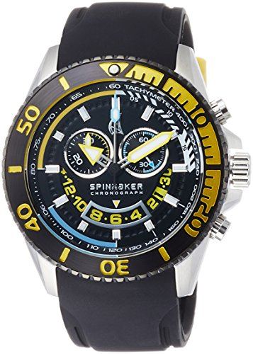 Spinnaker Amalfi Diver Men's Quartz Watch with Black Dial Chronograph Display on Black Silicon Band SP-5021-07
