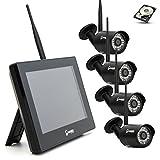 SCHMIDT security tools Funk Überwachungssystem 4X Kamera mit 9' Touch-Monitor HD Videoüberwachungsanlage Drahtlos Überwachungsset Sicherheitssystem 1TB HDD Festplatte